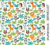 funny animal seamless vector...   Shutterstock .eps vector #385481107