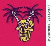 traditional tattoo flash skull... | Shutterstock .eps vector #385514647