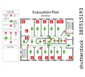 evacuation plan   third floor | Shutterstock .eps vector #385515193