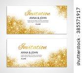 gold wedding glitter invitation ... | Shutterstock .eps vector #385571917