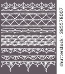 set of isolated knitted lace... | Shutterstock .eps vector #385578007