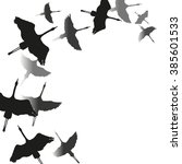 card with flock of cranes.. ink ... | Shutterstock .eps vector #385601533