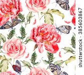 pattern with watercolor... | Shutterstock . vector #385603867