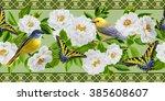 horizontal floral border.... | Shutterstock . vector #385608607