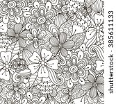 floral doodle black and white... | Shutterstock .eps vector #385611133