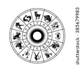 horoscope wheel of zodiac signs ... | Shutterstock . vector #385679983