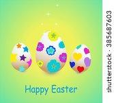 illustration of decorative eggs ... | Shutterstock .eps vector #385687603