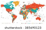 green red yellow brown world... | Shutterstock .eps vector #385690123