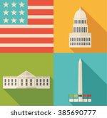washington icons set | Shutterstock .eps vector #385690777