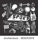 sport themed doodle on... | Shutterstock . vector #385693393