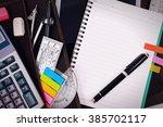 office table desk or school... | Shutterstock . vector #385702117