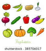 set of vector color vegetables... | Shutterstock .eps vector #385706017