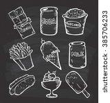 set of snack doodle on... | Shutterstock . vector #385706233