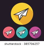 colorful paper plane flat icon...