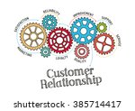 gears and customer relationship ... | Shutterstock .eps vector #385714417