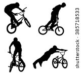 4 high quality bmx cyclist... | Shutterstock .eps vector #385718533