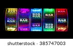 slot machine cylinders with... | Shutterstock . vector #385747003