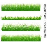 green grass borders set on... | Shutterstock . vector #385758403