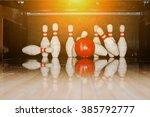 Ten White Pins In A Bowling...