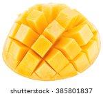 slices of mango fruit over... | Shutterstock . vector #385801837
