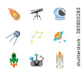 nine stylish space icons | Shutterstock . vector #385803283