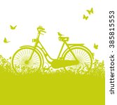 bicycle in the grass and short... | Shutterstock .eps vector #385815553