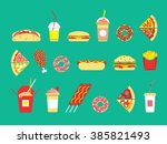 fast food set vector restaurant isolated flat icons snakes junk   Shutterstock vector #385821493
