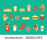 Fast Food Set. Vector Fast Foo...