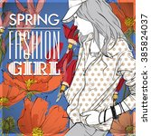 floral vector card with fashion ... | Shutterstock .eps vector #385824037
