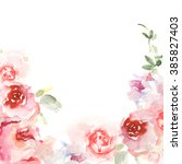 invitation card with watercolor ... | Shutterstock . vector #385827403