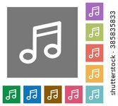 music flat icon set on color...