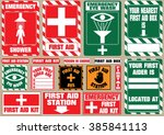 set of first aid medical signs. ...