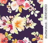 seamless pattern with flowers... | Shutterstock . vector #385853053