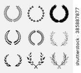 set of laurel wreath  heraldic... | Shutterstock .eps vector #385887877
