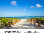 walkway to famous south beach ... | Shutterstock . vector #385888813