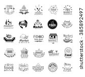 food and market icons set... | Shutterstock .eps vector #385892497