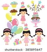 birthday girl vector... | Shutterstock .eps vector #385895647