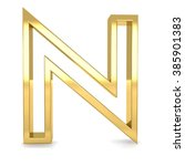 3d Golden Frame Letter N...