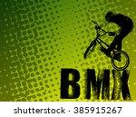 bmx stunt cyclist on the... | Shutterstock .eps vector #385915267