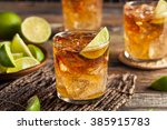 dark and stormy rum cocktail... | Shutterstock . vector #385915783