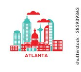 atlanta city architecture retro ... | Shutterstock .eps vector #385939363