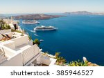 white architecture on santorini ... | Shutterstock . vector #385946527