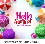 hello summer background with 3d ...