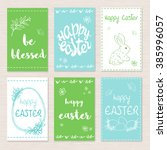 vector set of hand drawn easter ... | Shutterstock .eps vector #385996057