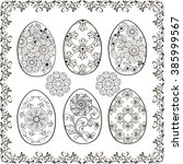 set of easter eggs with frame... | Shutterstock .eps vector #385999567