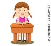 illustrator of girl studying in ...