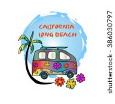 mini van with palm tree and... | Shutterstock .eps vector #386030797