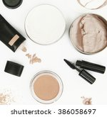 top view of different cosmetics ... | Shutterstock . vector #386058697