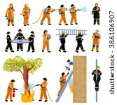 firefighter people flat color... | Shutterstock . vector #386106907