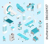 hospital isometric set | Shutterstock . vector #386106937